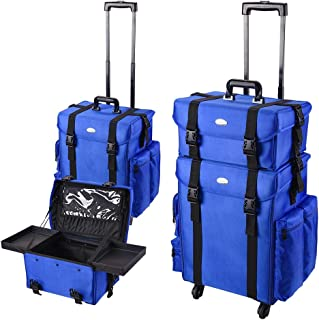 AW Bright Blue 2in1 Soft Sided Rolling Makeup Case Freelance Makeup Artist Cosmetic Organize Storage Travel Train Case