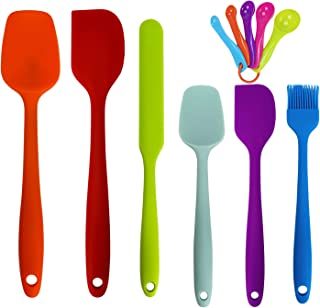 Wookon Silicone Kitchen Cooking Utensils Set.11 Pieces Spatulas Set with Measuring Spoons - High Heat Resistant Rubber.Sta...