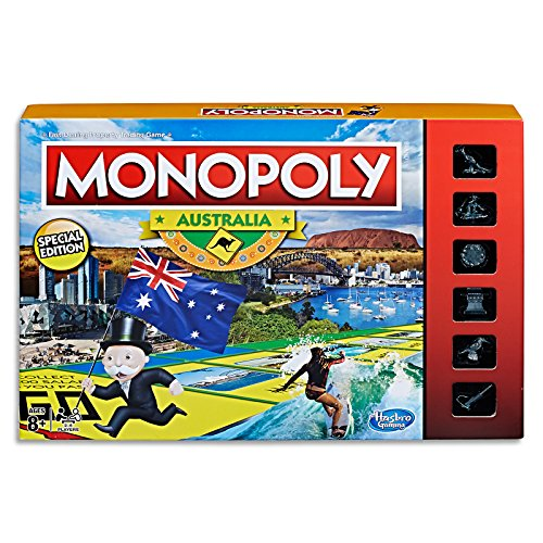 MONOPOLY - Australia Edition - Unique Events: State of Origin, Melbourne Cup - Aussie Tokens: Kangaroo, BBQ, Surfer, Cricket Bat - Family Board Games and Toys for Kids - Boys and Girls - Ages 8+