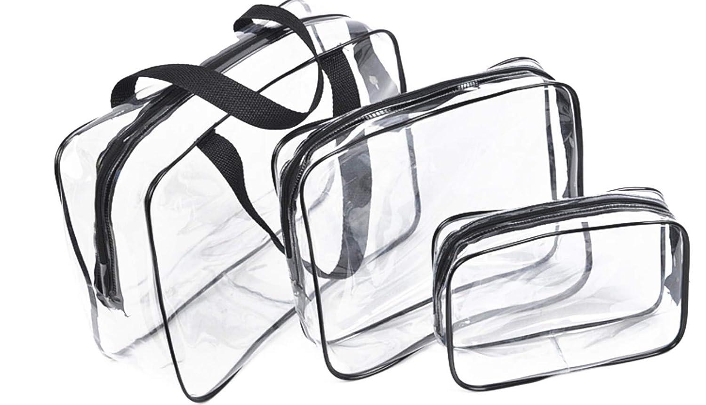 サービス 3 Pack Clear Cosmetics Makeup Waterproof おトク Zip PVC Bags with
