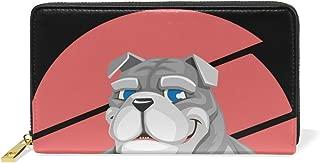 Cartoon Bulldog Purse Genuine Clutch Wallets Zip Long Leather Handbags Womens