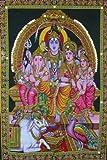 Shiva Family Batik Painting Wall Hanging Handmade Tapestry Cotton Religious God Ganesha 30 x 40'