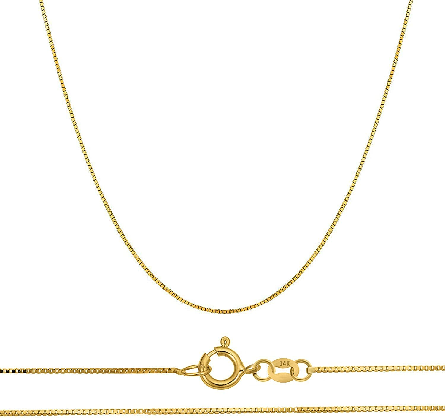 Orostar 14K Gold Chain for Men & Women in Yellow, White, and Rose Gold | Solid Thin Box Chain Necklace with 0.45mm Thickness and Size 16-20 inches