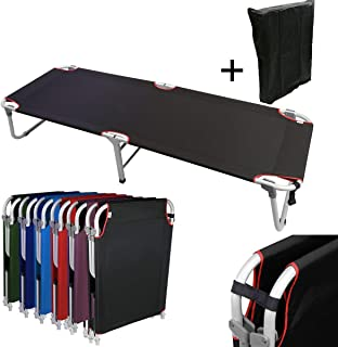 Magshion Portable Military Fold Up Camping Bed Cot + Free Storage Bag- 7 Colors (Renewed)