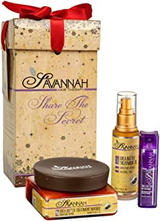 Savannah Hair Therapy Holiday Gift Box set for Women - Moisture Repair Treatment mask, Moisture Repair Treatment Oil, POP Treatment. Top Shea Butter Styling products