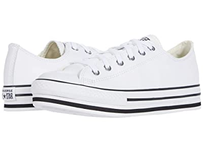 Converse Kids Chuck Taylor All Star Platform EVA Ox (Little Kid/Big Kid) (White/Black/Egret) Girl