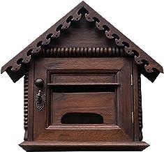 ZZYE Retro Wooden Mailbox Wall-Mounted Villa Mailbox, Medewerkers Suggestie Box met Lock Outdoor Waterdichte Mailbox 28x16...