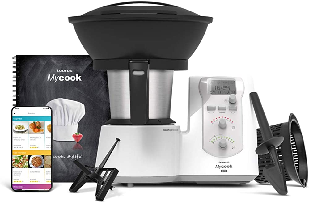 Taurus, one-robot da cucina intelligente, multifunzione, app mycook con migliaia di ricette, vaporiera 923116000