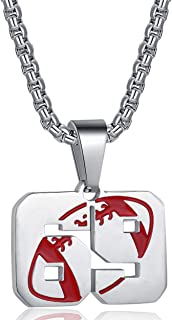 Rehoboth Football Rugby Jersey Number 0-99 Pendant Necklace for Boys Girls Women Men 22+2 Inch Adjustable Stainless Steel ...
