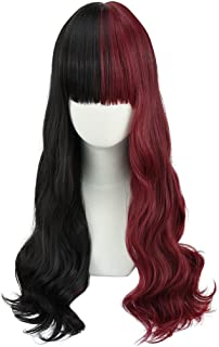 SEIKEA Half Black Half Red Wig Long Wavy Hair with Bangs Cute Cosplay Costumes