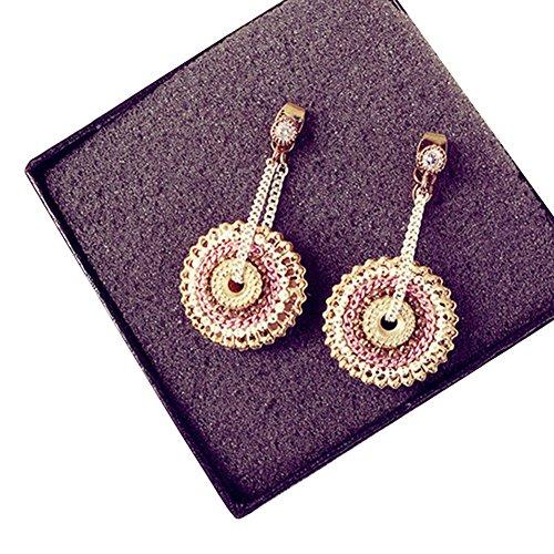 Lsgepavilion Damen-Ohrringe, Bohemian-Stil, rund, handgefertigt, mit Strass, für Strandpartys, Pink