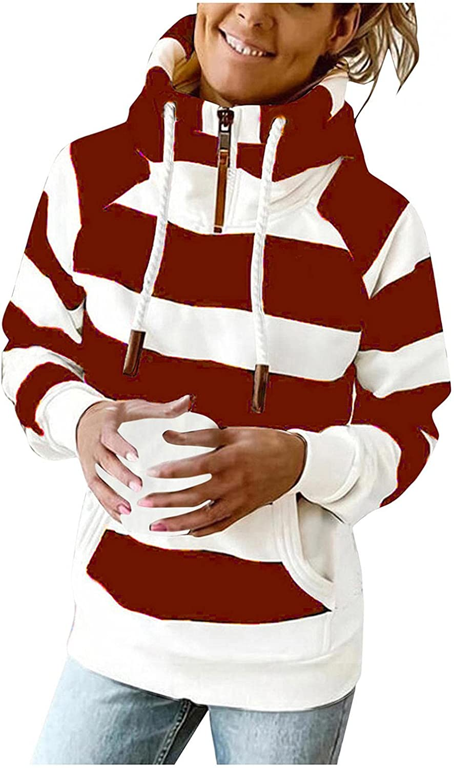 ONHUON Hoodies for Women, Womens Striped Color Block Quarter Zip Tops Long Sleeve High Neck Hooded Sweatshirts with Pocket