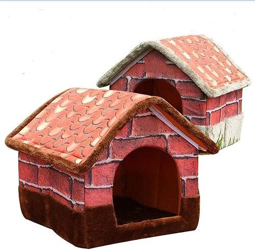 en venta en línea Wuwenw Caseta para Mascotas Desmontable Y Lavable Camilla para para para Gatos Casa De Villas De Ladrillo Retro Casa Plegable, M  grandes precios de descuento