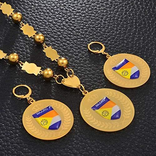 Mxdztu Co.,ltd Collar Conjuntos De Joyas Colgantes De Acero Inoxidable Collares De Perlas Pendientes Cadena De Bolas Redondas Joyas De Marshallese
