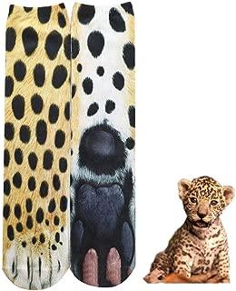 BONTOUJOUR Creative Unisex Men Women Fun Socks 3D Print Animal Feet Pattern Novelty Socks Paw Crew Socks- Leopard