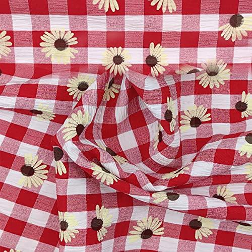 Aicvhin刺繍生地 布 綿100% プリントレース 生地 布 綿パッチワーク布 カット ひなぎく小花柄 ひまわり大花柄 夏ワンピース ハンドメイド 夏祭り和服 生地DIY手作り大人服・子供服向けレース生地 (レッド ひまわり, 1M)