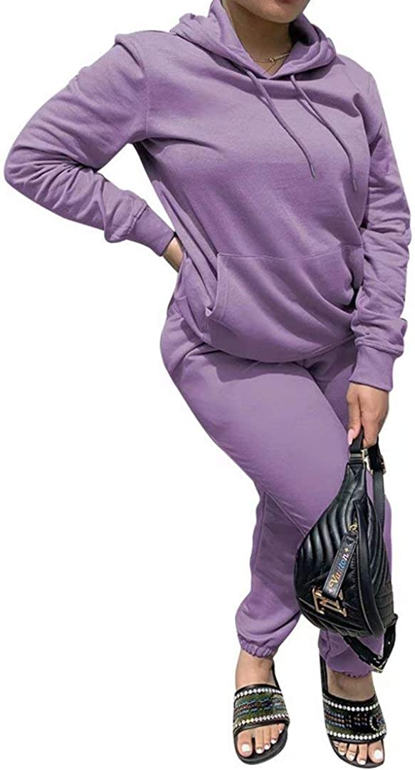 Women Casual Solid Pullover 半額 Hoodie Sport Jump 2 Sweatpants 百貨店 Piece