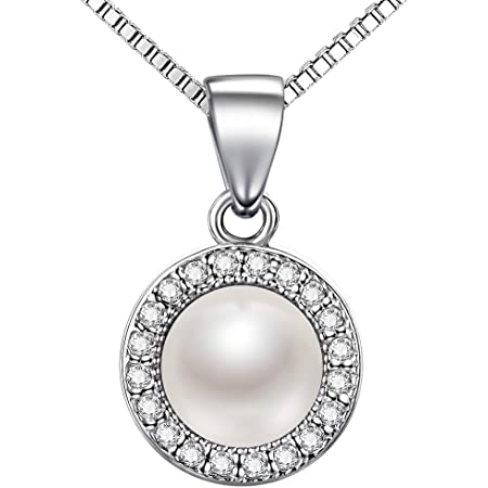 """Lydreewam Pearl Necklace Women 925 Sterling Silver Cubic Zirconia 3A 6mm Natural Freshwater Pearl Round Button Pendant Italy 18"""" Chain"""