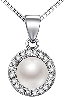 J.SHINE 925 Sterling Silver Pearl Pendant Necklace 3A 6mm Freshwater Pearl Pendant 45cm Box Chain Cubic Zirconia Necklace
