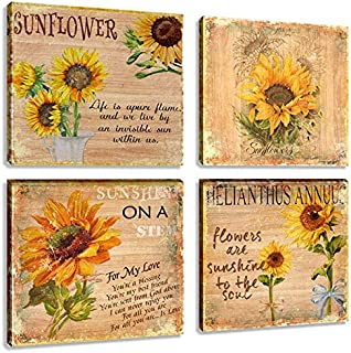 Flower Painting Art 4 Panles Abstract Still Life Sunflower Artwork Canvas Picture Print for Living Room Home Decor
