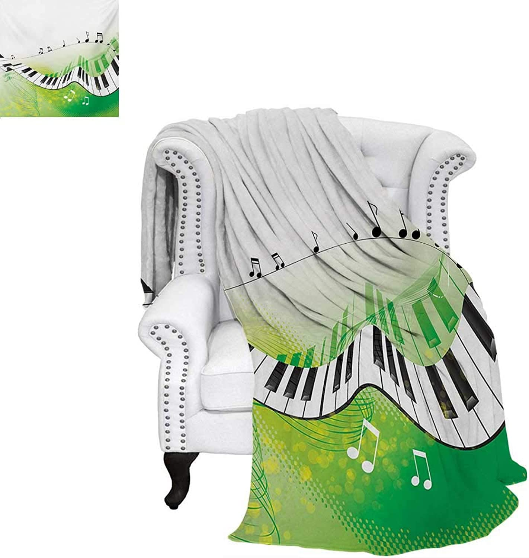 Warmfamily Music Summer Quilt Comforter Music Piano Keys Curvy Fingerboard Summertime Entertainment Flourish Digital Printing Blanket 60 x50  Lime Green Black White