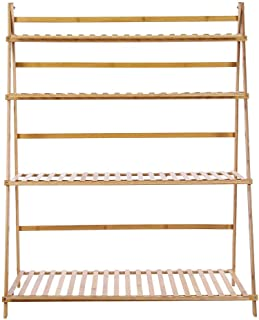 Zerone Flower Stand,4 Tiers 3.3ft Width Plant Rack Thickened Solid Support Bamboo Foldable Plant Stand(Wood color)