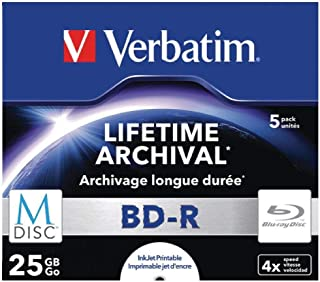 Verbatim 43823 25GB 4X M-Disc BD-R - 5 Pack Jewel Case