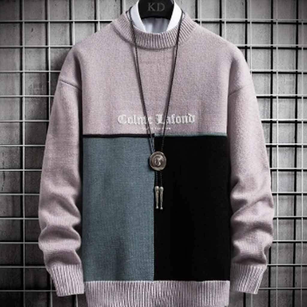 ZYING Winter Warm Sweater Men Turtleneck Mens Pullover Patchwork Casual Slim Fit Pullovers Tops Knitted Men Christmas Sweaters (Color : Style 2)