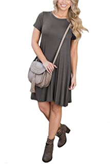 WIWIQS Women's Casual Plain Flowy Simple Loose Cotton T-Shirt Dress