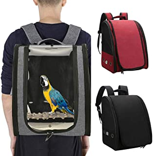 Bird Parrot Backpack Carrier Bird Travel Cage with Perch for Large Medium and Small Birds Crested Myna Travel Hiking(Black)