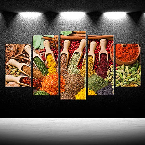 iKNOW FOTO Large 5 Panel Canvas Wall Art Couful Spice in Spoon Vintage Canvas Prints Food Photos Painting On Canvas Kitchen Pictures Walls Decor Stretched Framed Home Decoration Gift Ready to Hang