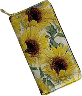 Alemiu Fashion Sunflower Wallets for Women Ladies RFID Blocking Leather Purse Clutch Handbag Money Coin Bag Phone Card Holder Case
