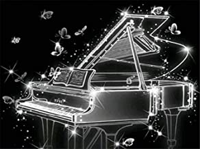 Crystal Piano Diamond Painting Art - PigPigBoss 5D Full Drill Diamond Embroidery Kit for Adult - Piano Diamond Dots Kit Ho...