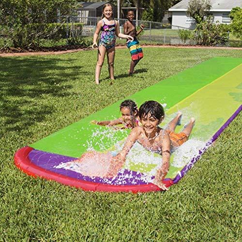 Sport- en buitenspeelgoed 4,8 m PVC Giant Surf 'N dubbele waterglijbaan Opblaasbare glijbaan voor kinderen Zomer Achtertuin Zwembadspellen