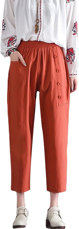 UANEO Women's Elastic Waist Cotton Linen Casual Summer Capri Pants with Pockets(Orange-S)