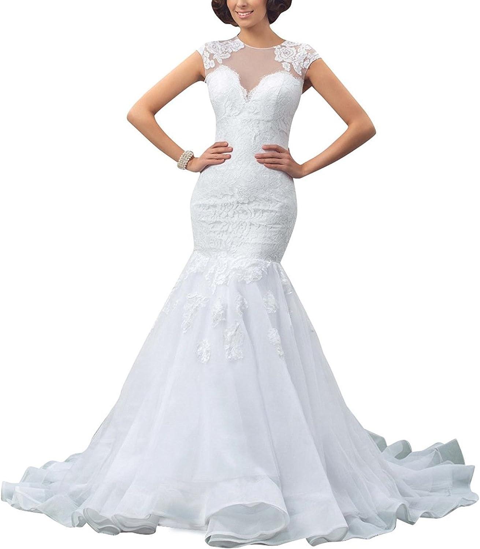 Weiterstar Women's Empire Jewel Cap Sleeve Mermaid Zipper Back Applique Lace Wedding Dress
