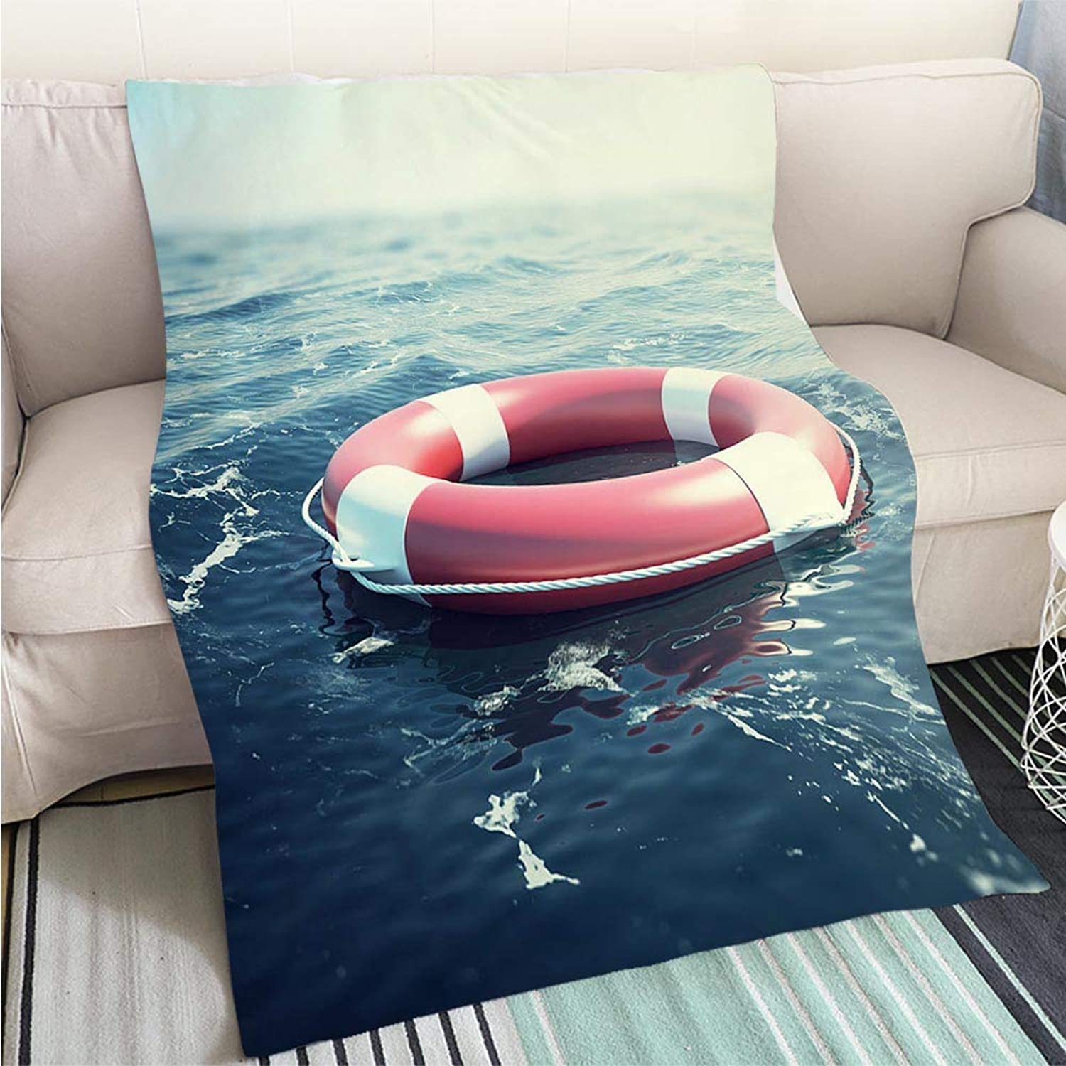 Art Design Photos Cool Quilt Red Lifebuoy Floating in The sea 3D Illustration Hypoallergenic Blanket for Bed Couch Chair