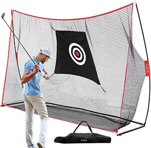 TUSY 10'x3'x7'ft Golf Net for Training Practice Indoor/Outdoor Sport Golf Hitting Net for Chipping/Driving Practice Large Square Open Size Net w Target Sheet & Zipper Carry Bag