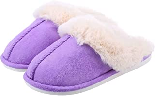Womens Suede Comfy Slippers Memory Foam Fluffy Warm Non-Slip Comfortable Slip-on House Shoes
