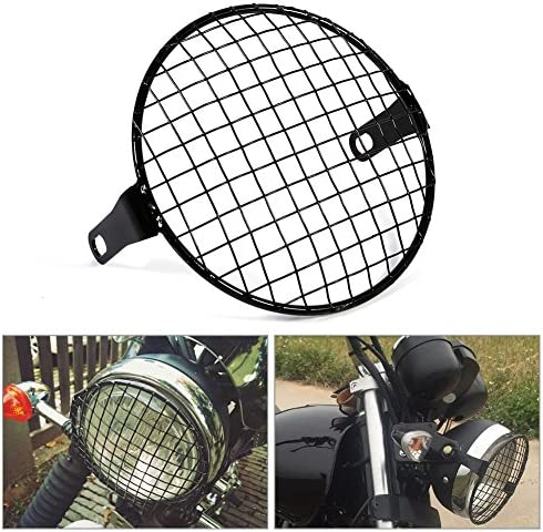 "6.5/"" phare Mesh Grill Guard Noir Moto projecteur Light Cover Protecter"