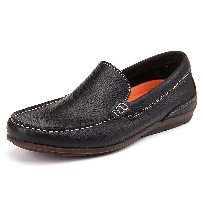 メンズシューズ/スリップオン/タッチドライビングシューズ、カジュアルフラットシューズ、通気性メンズファッションシューズ、ローファー (Color : ブラック, Size : 43)