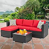 Walsunny Outdoor Furniture Patio Sets,Low Back All-Weather Small Rattan Sectional Sofa with Tea Table&Washable...