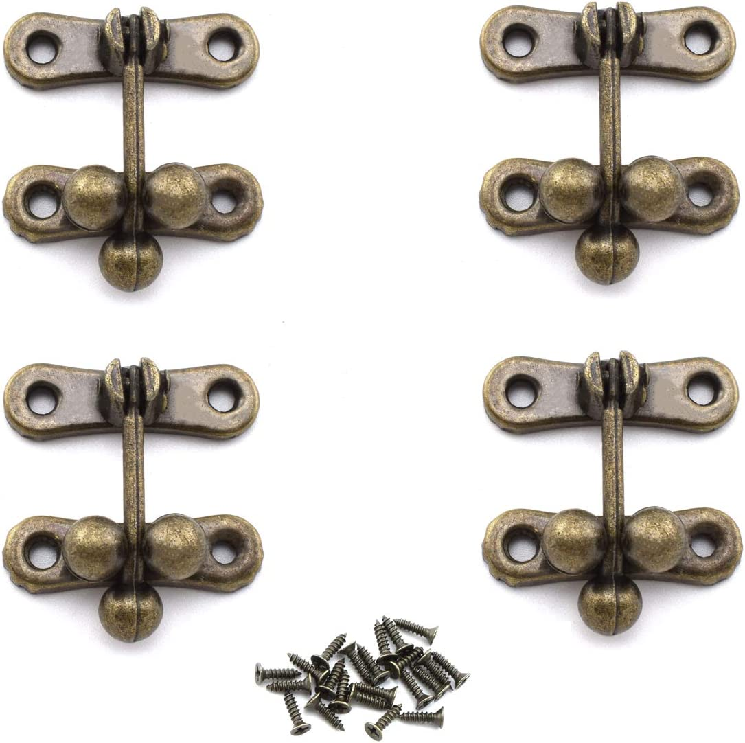 L 1.5 x W 1.54 OZXNO 4-Pack Mini Retro Style Three Beads Latch Buckle Bronze Decorative Vintage Hasp Clasp with Matching Screws Antique Jewelry Box Latch Hasps