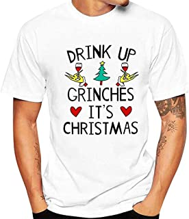 Drink Up Grinches Christmas Coming,Funny Chritsmas Tree Print T-Shirt for Men Women Novelty Top Holiday Beautyfine