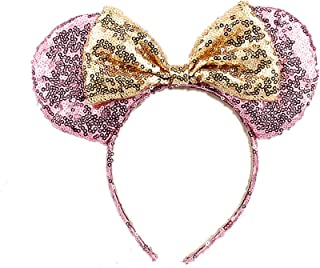 OBUY Minnie Ears, Minnie Mouse Ears,Adult red Ears,mice Ears Minnie Mouse Ears,Rainbow Minnie Mouse Ears, Sparkly Minnie Ears, Mouse Ears (Champagne gold)