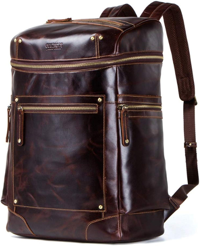 Men's Backpack Fashion Retro Crazy Horse Leather Men's Bag MultiFunction Backpack (color   Brown, Size   L)