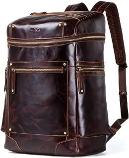 Men's Backpack Retro Leather Multi-Function Backpack Laptop Rucksack Travel Backpack XFGBTJKYAUu (Color : Brown, Size : L)