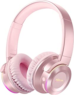 Picun B9 Wireless Bluetooth Headphones with Mic 40H Playtime Wireless Headphones Over Ear Deep Bass Foldable Headset for TV PC Tablet Cellphone - Rose Gold for Women
