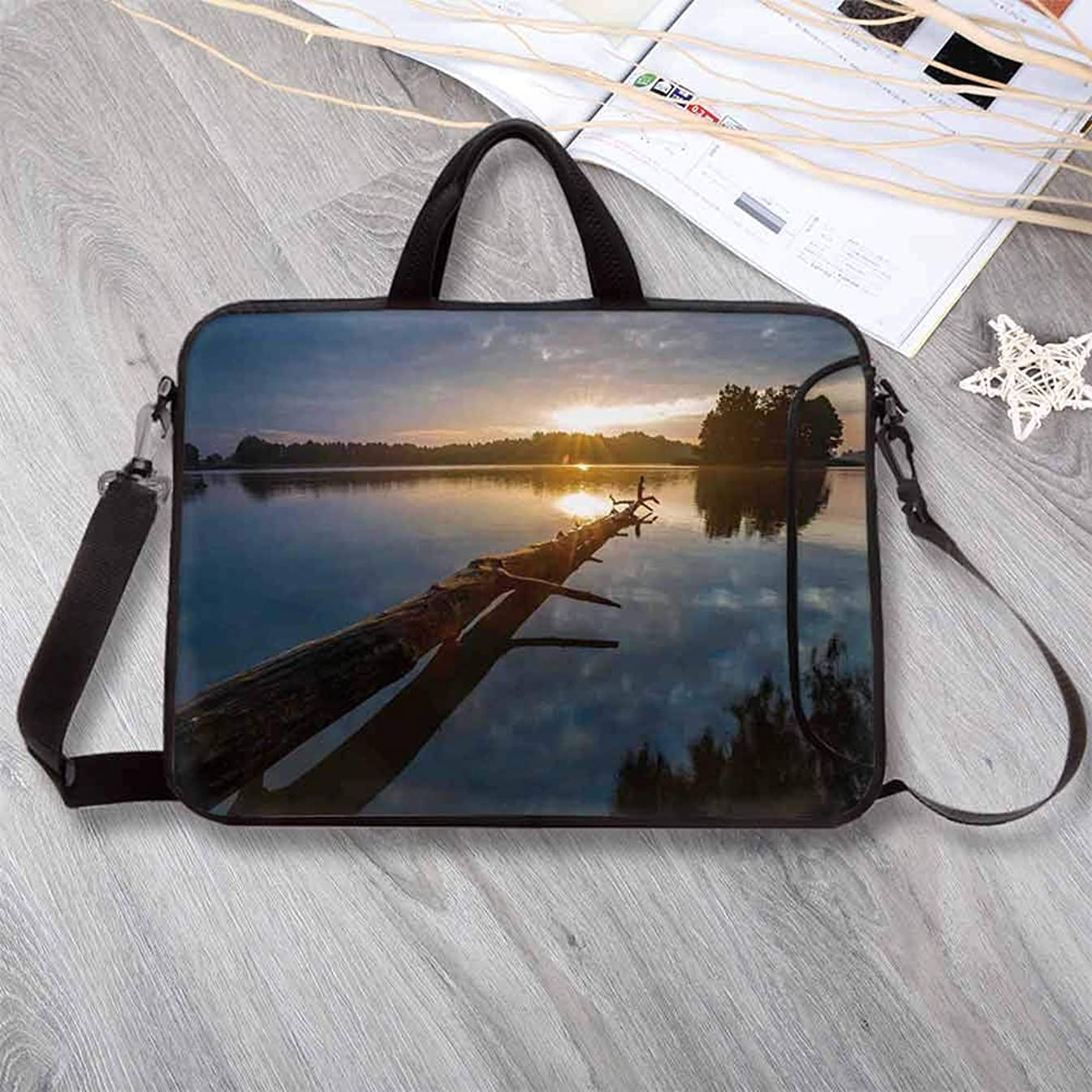 """Driftwood Decor Lightweight Neoprene Laptop Bag,Natural Theme Landscape of Driftwood and Lake in Poland a Sunny Day Laptop Bag for Laptop Tablet PC,12.6""""L x 9.4""""W x 0.8""""H"""