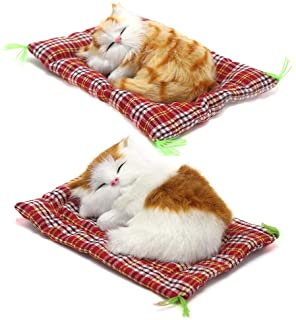 Coolayoung 2Pcs Sleeping Cat on Pad Doll Toy, Cute Mini Kitten on Pad with Meows Sounds Decor Hand Toy Gift for Kids Boys ...